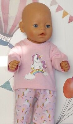 "Dolls Clothes to fit 17"" Baby Born Pale Pink Unicorn  Pyjamas"