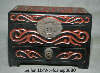 """5.8"""" Qianlong Marked Old China wood Lacquerware Dynasty drawer Storage chest Box"""