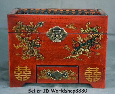 """10.2"""" Old Chinese Wood lacquerware Dynasty Dragon Phoenix abacus Jewelry box"""