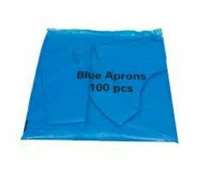 Disposable Plastic Aprons Blue Polythene Aprons Flat Pack of 100