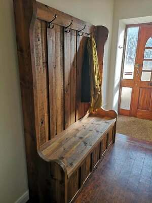 120cm Hallway Bench Pew Monks Settle Comes With Underseat Storage And Coat hooks