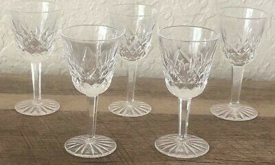 """5 Waterford Crystal LISMORE 3.5"""" Cordial Sherry Liqueur Glasses Ireland"""