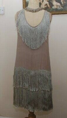 Original Antique 1920s Silk Fringed Dress Flapper Charleston Dress Few Flaws