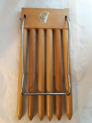 Vtg The Ideal Trousers Rack wooden metal Chrome Skirts Pants Drying Hanging Rack
