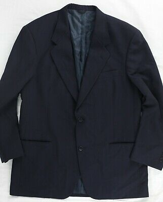 Vintage Barneys New York Wool Navy Blue Suit Made in USA 42R Jetted Pockets