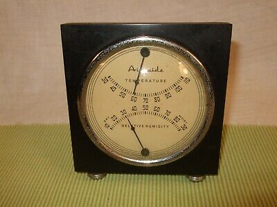 Vintage AIRGUIDE Relative Humidity & Temperature Guide 1940's Working Art Deco