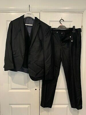 Mens Black Limehaus 3 Piece Suit, Jacket, Waistcoat & Trousers w. Blue Lining