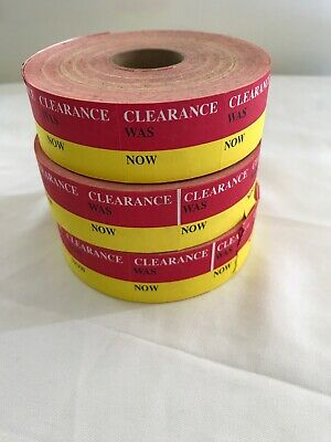 """Clearance Stickers For Price Gun Yellow Red 3 Rolls 1"""" Wide"""