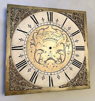 18thC Grandfather Brass Clock Face, William Avenell, Alresford, Hants 10""