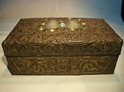 Antique Chinese Bronze Box with White Jade and Turquoise Beads