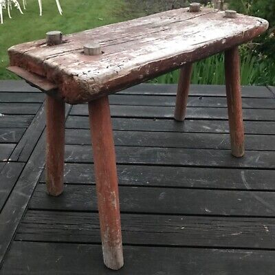 Rustic old chippy painted French Wooden Stool