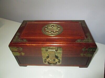 """Vintage Oriental wooden Jewelry Chest with Ornate Brass Fittings 12"""" X 7"""" X 6"""" H"""