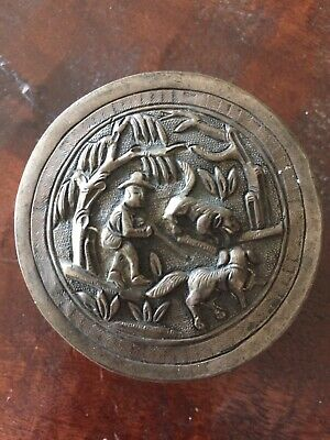 ANTIQUE CHINESE SILVER REPOUSSE OPIUM, SNUFF, TEA, JAR/BOX W/Makers Mark