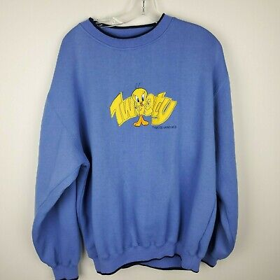 Vintage Tweety Bird Sweatshirt Looney Tunes 1996 Blue WARNER BROS Size XL