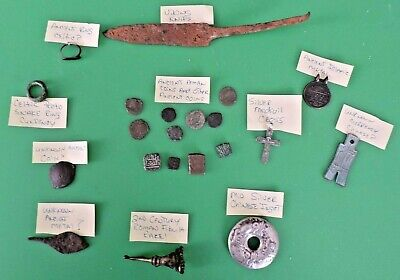 Ancient Medieval Viking Knife,Bronze Coins,Roman Fibula Celtic Junk Drawer Lot !