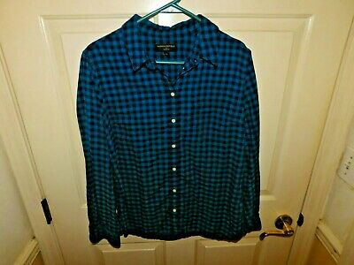 Banana Republic Womens turquoise black Plaid Button-Down Long Sleeve Top Size XL