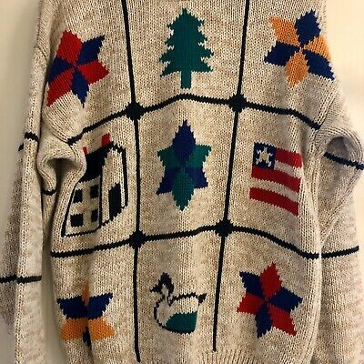 Vtg Cotton Americana Sweater Size M