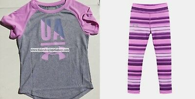 Under Armour Girls Size 4 ~ Purple Leggings ~ Short Sleeve Top ~ Bnwt $52