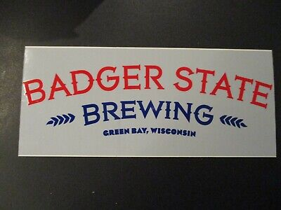 BADGER STATE BREWING Green Bay Wisconsin logo g STICKER decal craft beer brewery