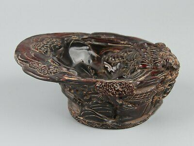 Chinese Exquisite Handmade landscape Carving Ox Horn cup