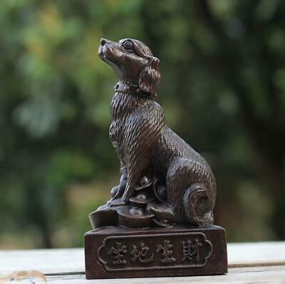 Natural agalloch eaglewood hand-carved dog antique wood statue /Vd01