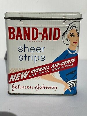 Vintage Johnson & Johnson J & J Band-Aid Metal Tin Lady Sheer Strips Advertising