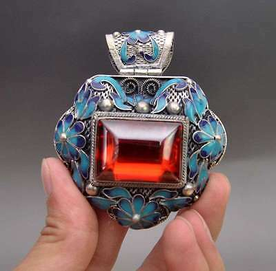 Rare China Silver Old jadeite  cloisonne collect hand carved pendant b01