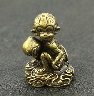 Collect chinese old Pure copper hand-made monkey peach good luck Statue AAa01