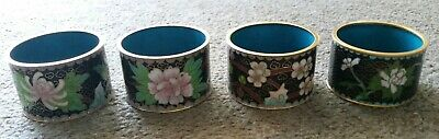 Set Of 4 Vintage 1940's Chinese Cloisonne Napkin Rings  (Lot #1 )