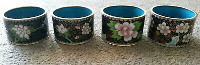 Set Of 4 Vintage 1950's Chinese Cloisonne Napkin Rings (Lot #2 )