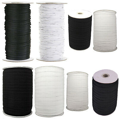 Flat Round White Black Elastic Bungee Shock String Stretchable Waist Cord Band