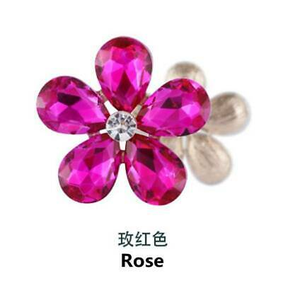2PCS Crystal Rhinestones Metal Beads Flower Embellishments Patches Sew On Rose