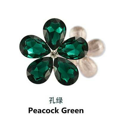 2PCS Crystal Rhinestones Metal Beads Flower Embellishments Patches Peacock Green