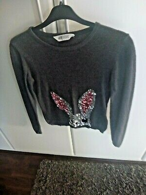 Girls H&M soft cosy long sleeve sequin bunny top age 8-10yrs