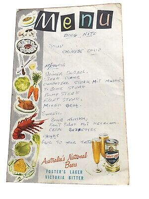 Old Used Fosters Lager Victoria Bitter Menu Card