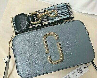 Authentic Marc Jacobs Snapshot Camera SlateCrossbody Bag NWT Grey Blue