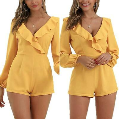 Women V Neck Backless Ruffle Shorts Jumpsuit Party Zip Long Sleeve Playsuit
