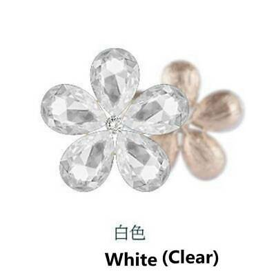 2PCS Crystal Rhinestones Metal Beads Flowers Embellishments Sewing Patches Clear