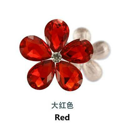 2PCS Crystal Rhinestones Metal Beads Flowers Embellishments Sewing Patches Red