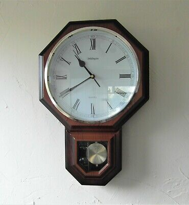 Traditional Style Wellington Quartz Octagonal Wall Clock with Pendulum