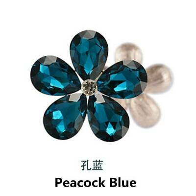 2PCS Crystal Rhinestones Metal Beads Flowers Embellishments Patches Peacock Blue