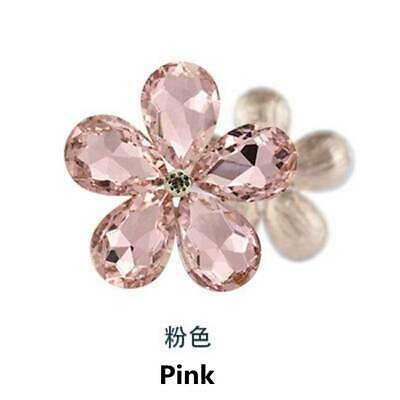 2PCS Crystal Rhinestones Metal Beads Flowers Embellishments Sewing Patches Pink