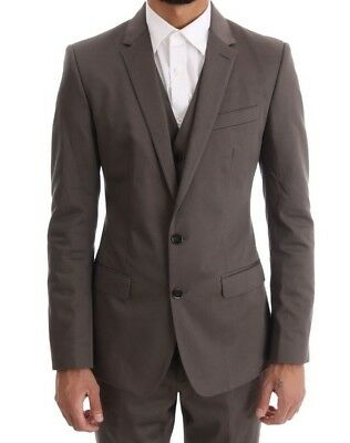 NEW DOLCE & GABBANA Suit Brown Cotton 3 Piece Slim Fit s. EU44 / US34 / XS