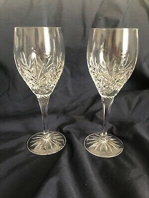 Pair of 2 Galway Crystal O'Hara Red Wine Glasses