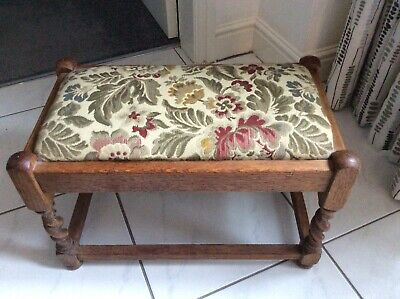 Antique Oak Footstool With Tapestry Seat Top