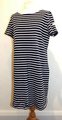 JOULES Navy Blue/White Striped Thick Jersey Cotton Short Sleeve -Shirt Dress 18