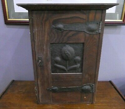 Antique Arts And Crafts Oak Wall Cupboard + Key