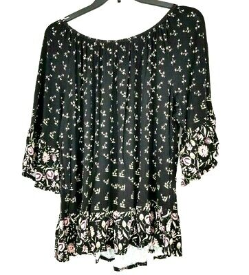 Style & Co. Womens Plus Floral Print Bell Sleeves Pullover Top Black 3X
