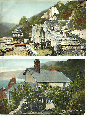 Two Postcards - Rose Cottage & Fish Market, Clovelly, UK - Early Century