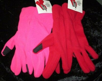 NEW Womens Soft Fleece Touch Screen Compatible Gloves RED or PINK One Size